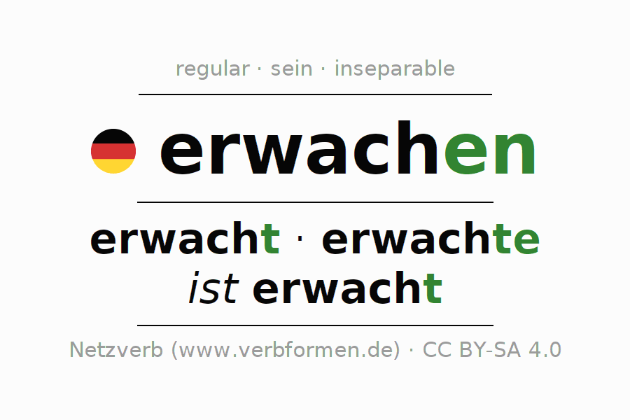Entire conjugation of the German verb erwachen. All tenses are clearly represented in a table.