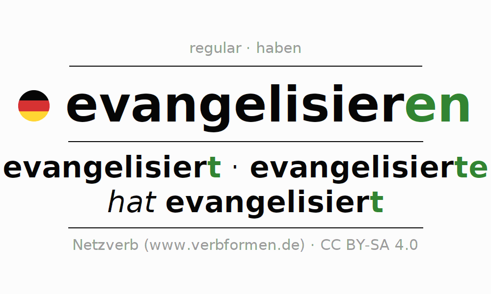Entire conjugation of the German verb evangelisieren. All tenses and modes are clearly represented in a table.
