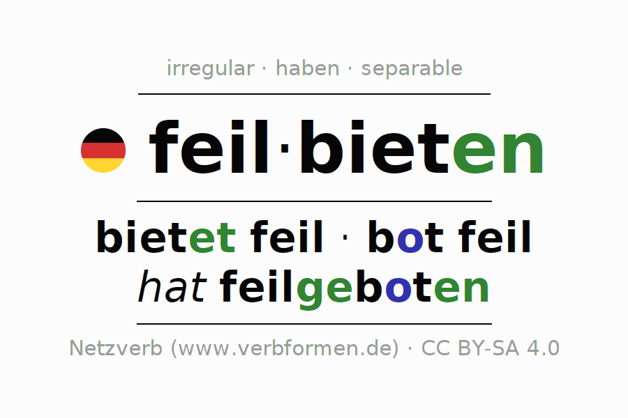 Entire conjugation of the German verb feilbieten. All tenses and modes are clearly represented in a table.