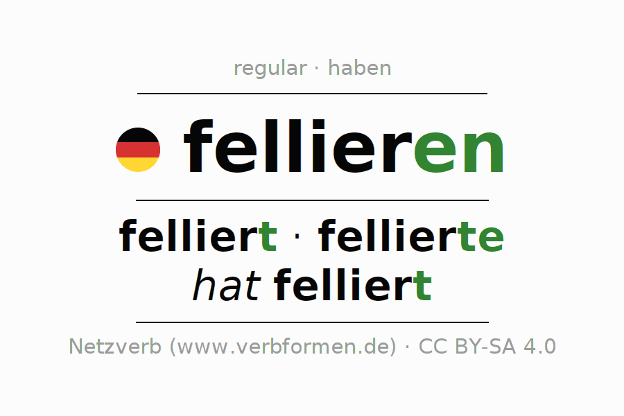 Entire conjugation of the German verb fellieren. All tenses are clearly represented in a table.