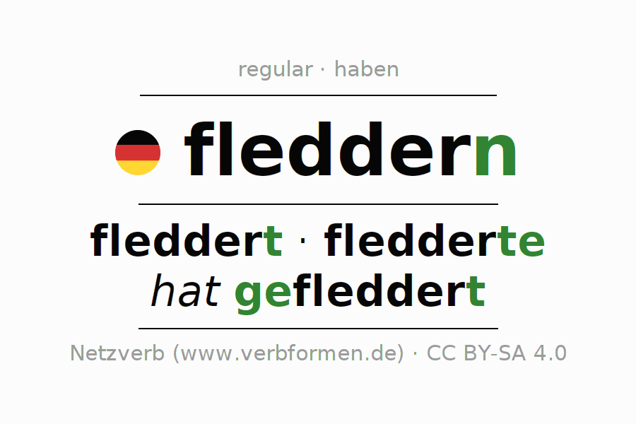 Entire conjugation of the German verb fleddern. All tenses and modes are clearly represented in a table.
