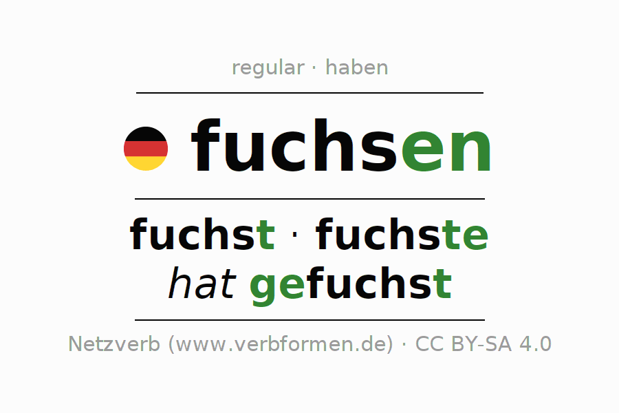 Entire conjugation of the German verb fuchsen. All tenses are clearly represented in a table.