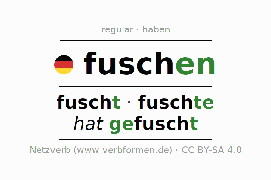 Entire conjugation of the German verb fuschen. All tenses and modes are clearly represented in a table.