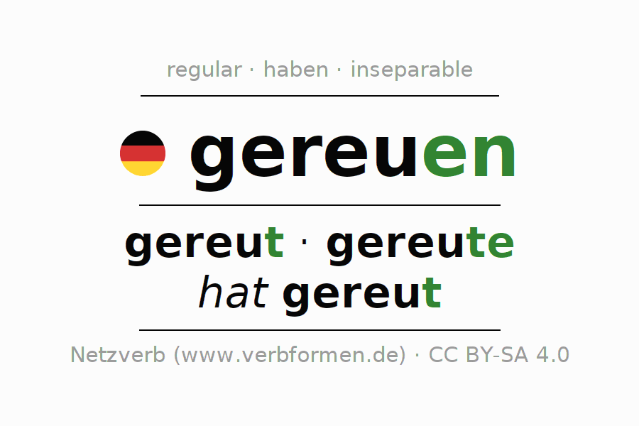 Conjugation of German verb gereuen