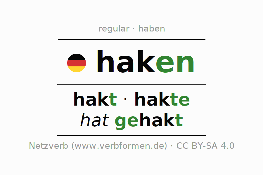 Entire conjugation of the German verb haken. All tenses and modes are clearly represented in a table.