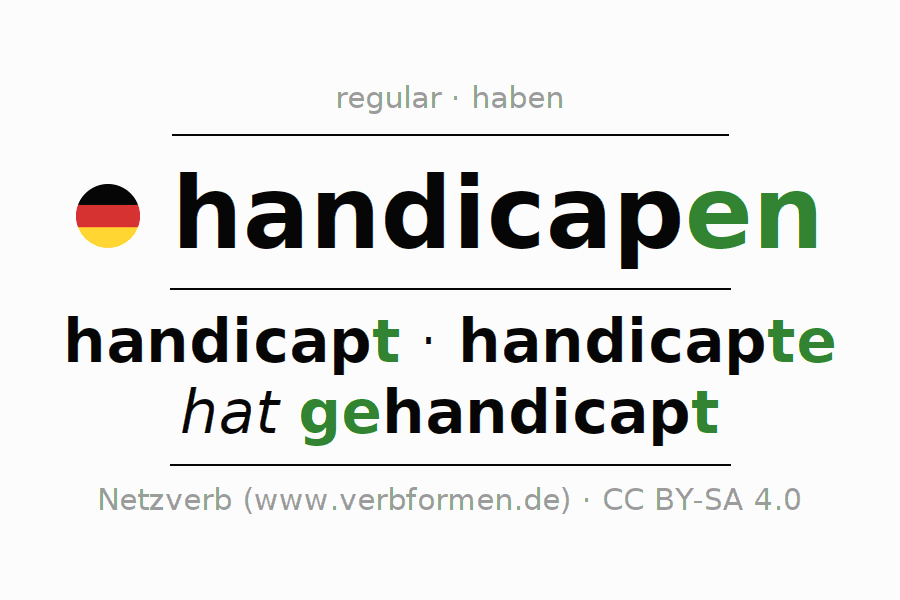 Entire conjugation of the German verb handicapen. All tenses are clearly represented in a table.