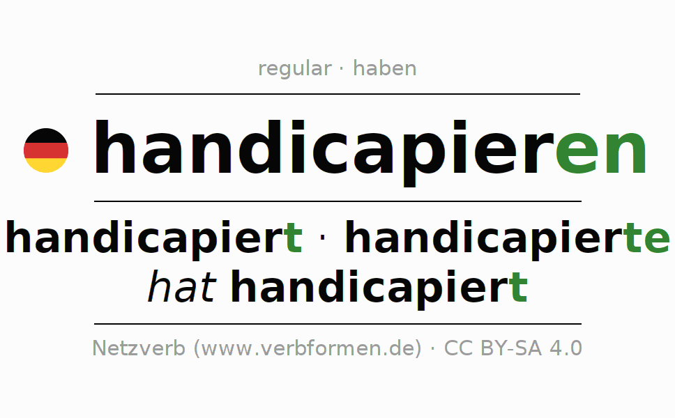 Entire conjugation of the German verb handicapieren. All tenses are clearly represented in a table.
