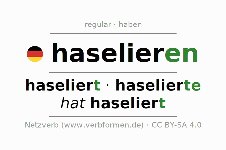 Entire conjugation of the German verb haselieren. All tenses are clearly represented in a table.