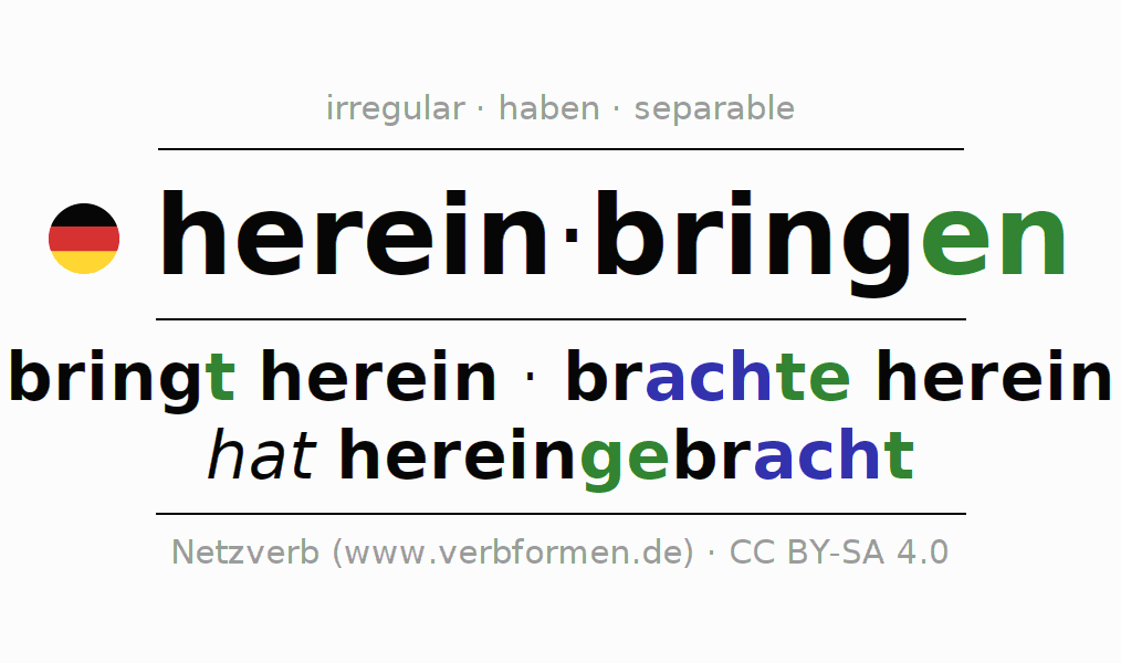 Entire conjugation of the German verb hereinbringen. All tenses are clearly represented in a table.