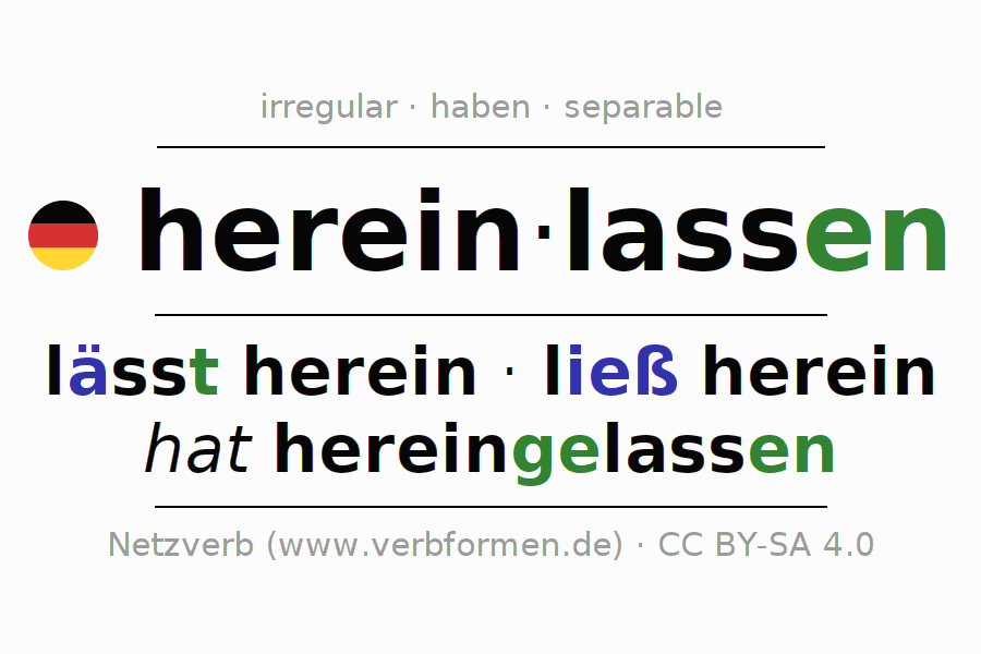 Entire conjugation of the German verb hereinlassen. All tenses are clearly represented in a table.