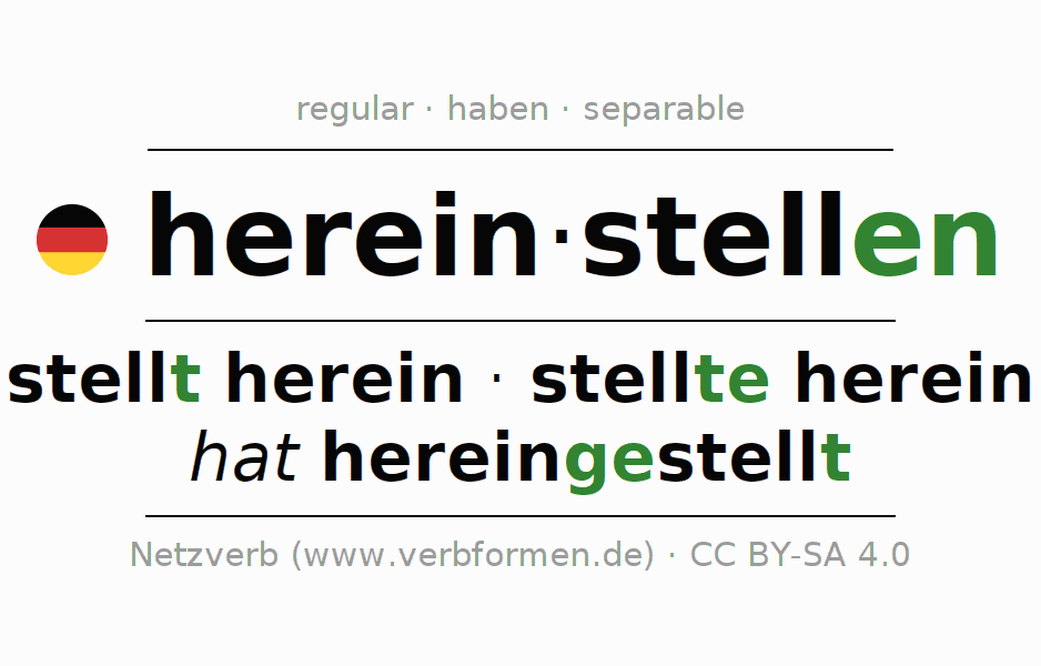 Entire conjugation of the German verb hereinstellen. All tenses and modes are clearly represented in a table.