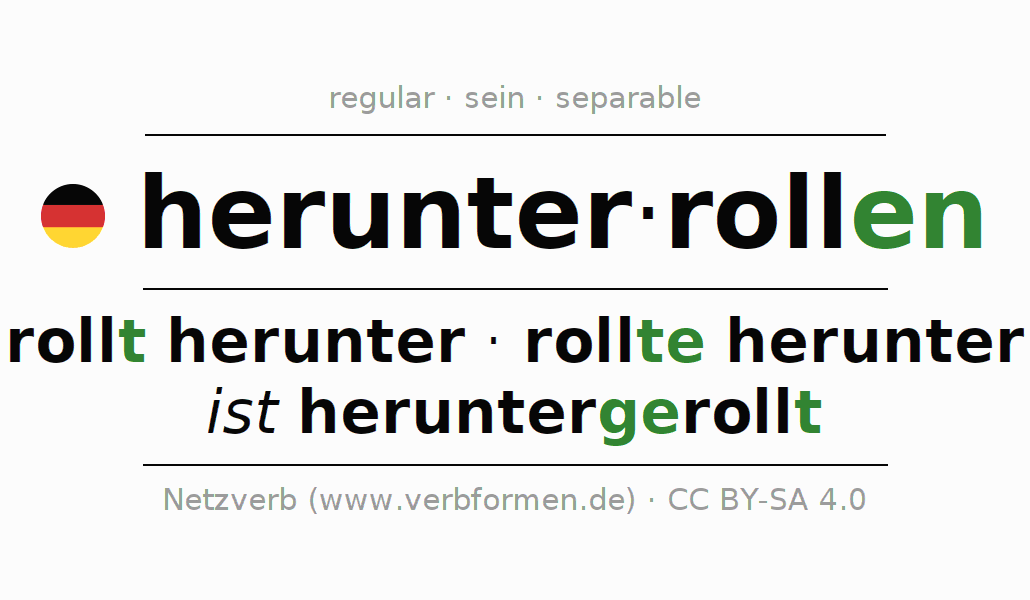 Conjugation of German verb herunterrollen (ist)
