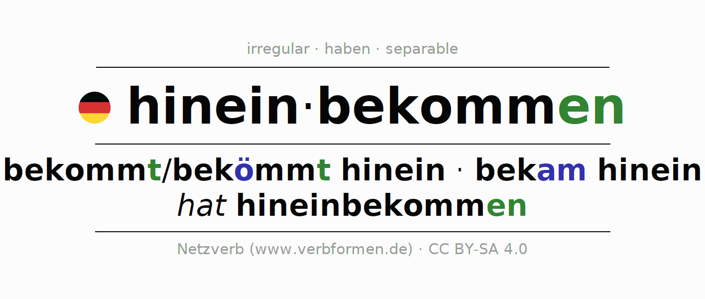 Entire conjugation of the German verb hineinbekommen. All tenses are clearly represented in a table.