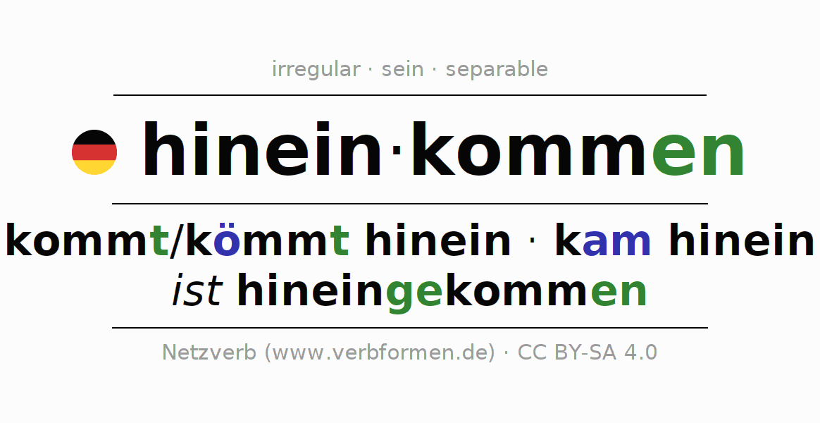Entire conjugation of the German verb hineinkommen. All tenses are clearly represented in a table.