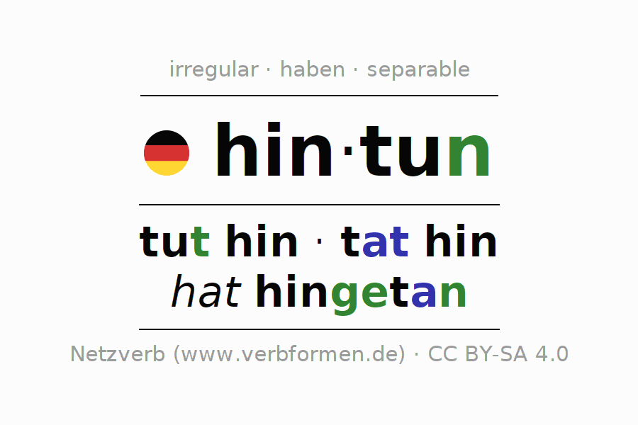 Entire conjugation of the German verb hintun. All tenses are clearly represented in a table.
