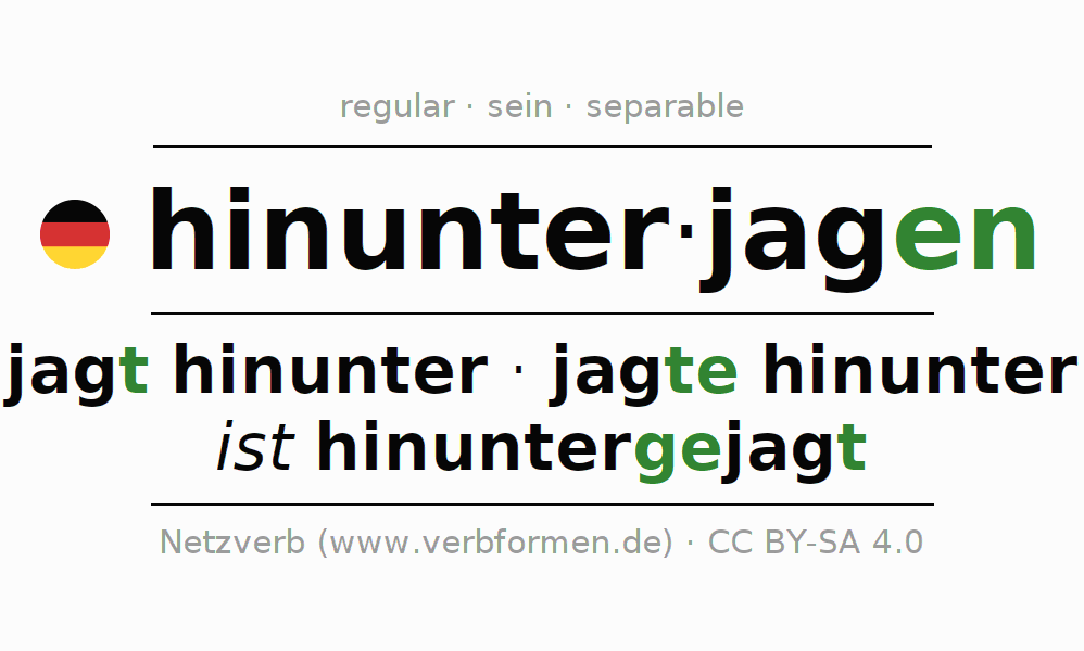 Entire conjugation of the German verb hinunterjagen (hat). All tenses and modes are clearly represented in a table.