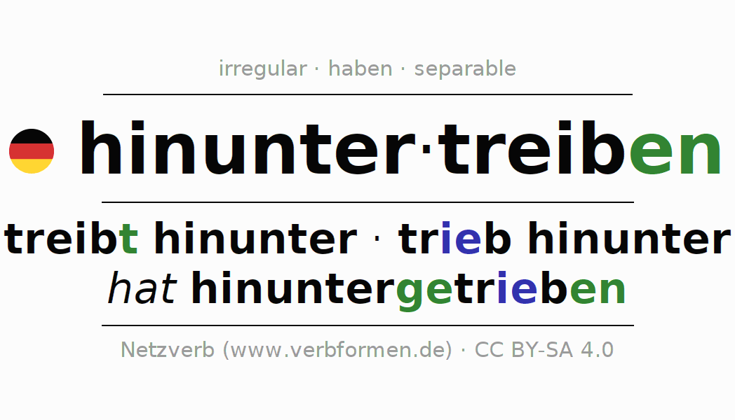 Entire conjugation of the German verb hinuntertreiben (ist). All tenses are clearly represented in a table.