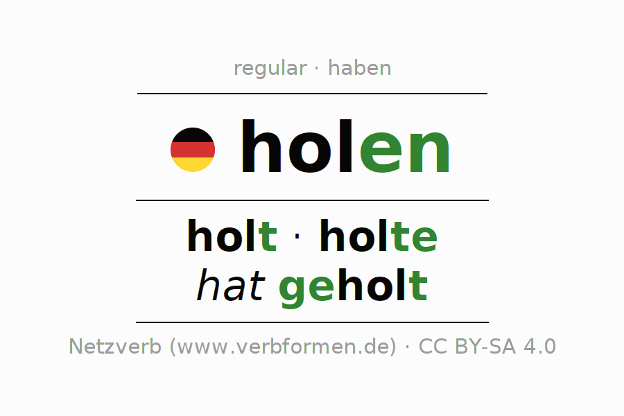 Entire conjugation of the German verb holen. All tenses are clearly represented in a table.
