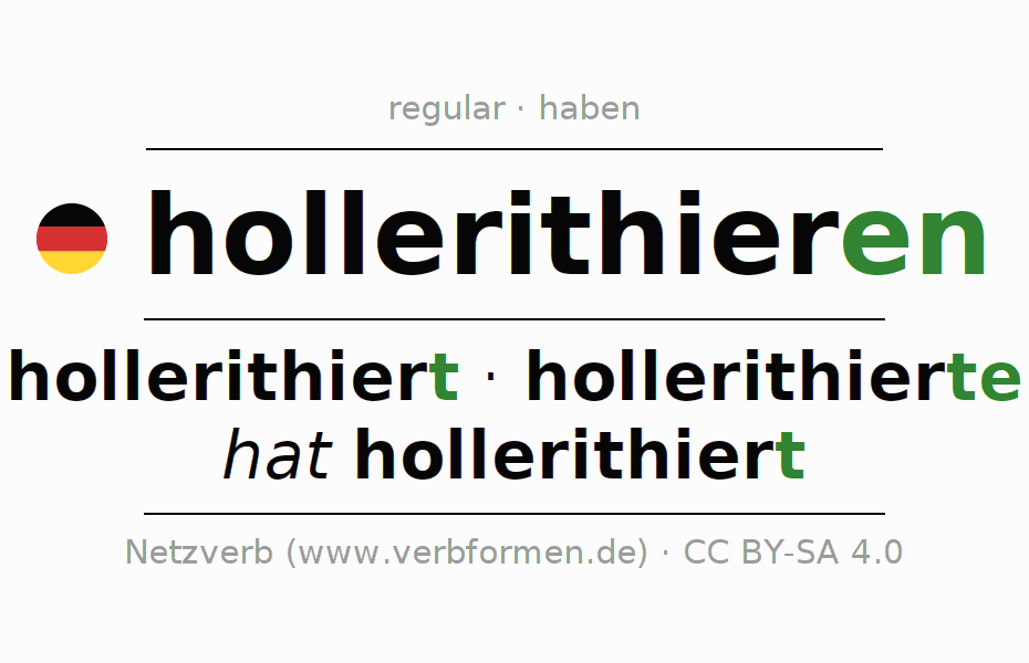 Entire conjugation of the German verb hollerithieren. All tenses and modes are clearly represented in a table.