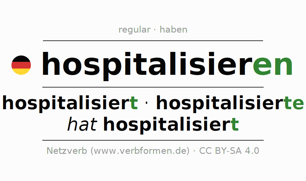 Entire conjugation of the German verb hospitalisieren. All tenses and modes are clearly represented in a table.