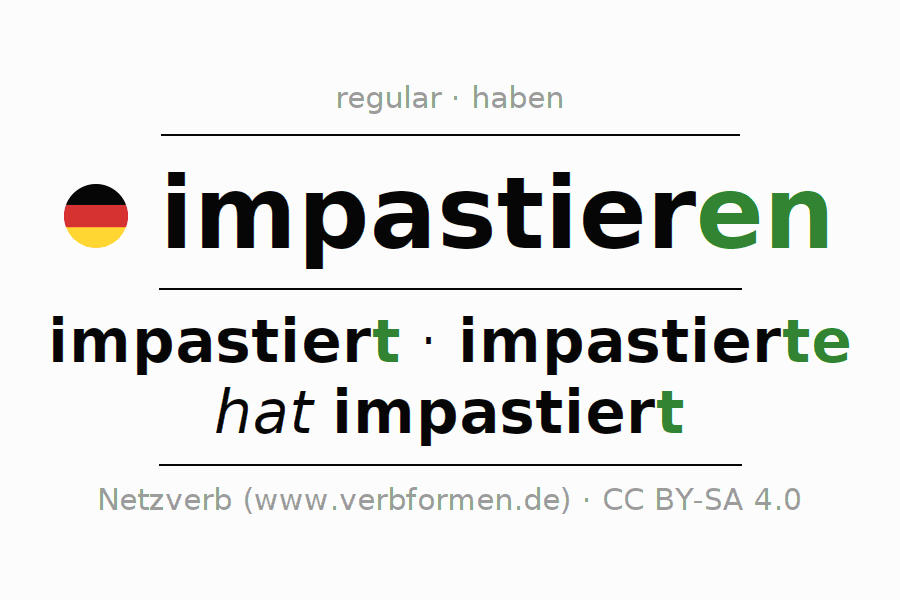 Conjugation of German verb impastieren
