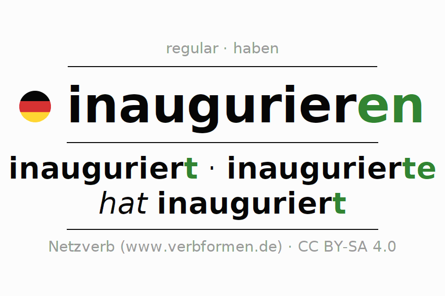 Entire conjugation of the German verb inaugurieren. All tenses are clearly represented in a table.