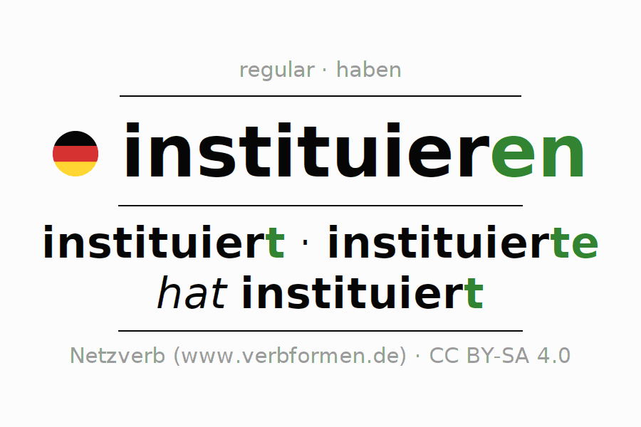 Conjugation of German verb instituieren