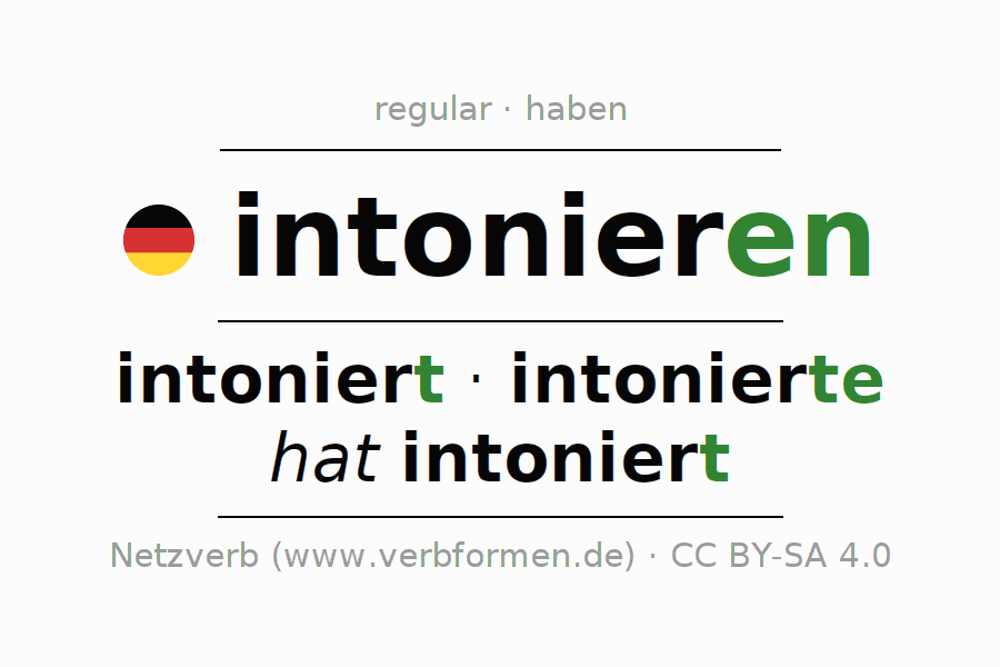 Entire conjugation of the German verb intonieren. All tenses and modes are clearly represented in a table.