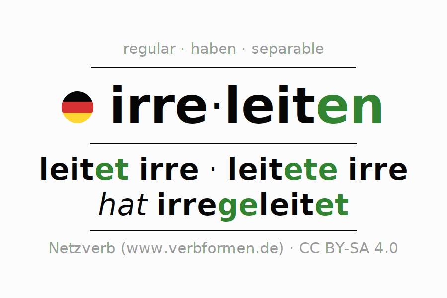 Entire conjugation of the German verb irreleiten. All tenses and modes are clearly represented in a table.