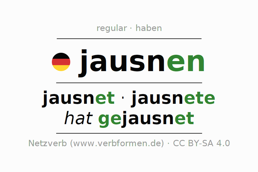 Entire conjugation of the German verb jausnen. All tenses are clearly represented in a table.