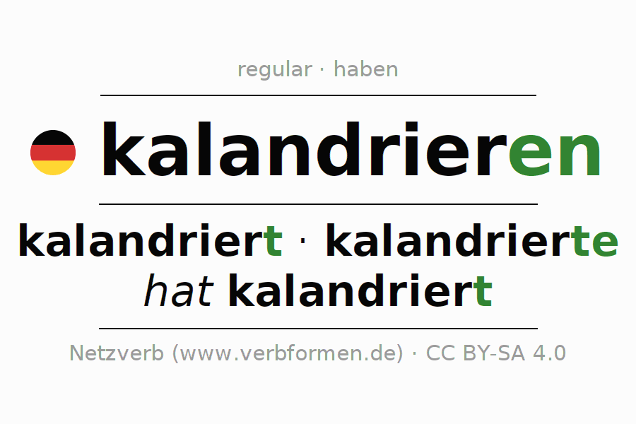 Entire conjugation of the German verb kalandrieren. All tenses and modes are clearly represented in a table.