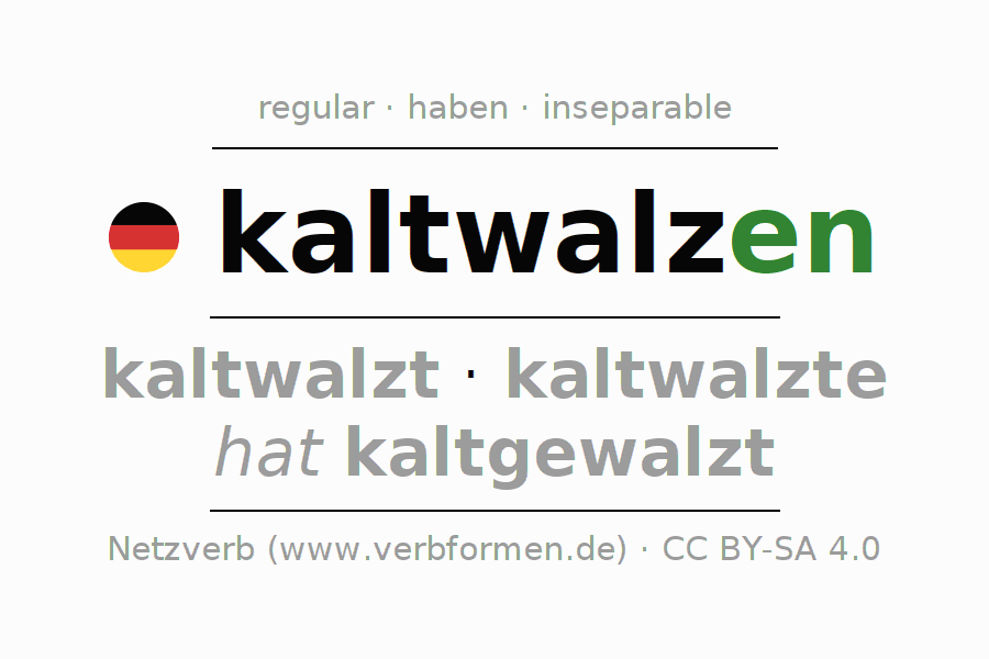 Entire conjugation of the German verb kaltwalzen. All tenses and modes are clearly represented in a table.
