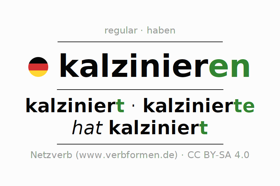 Entire conjugation of the German verb kalzinieren. All tenses are clearly represented in a table.