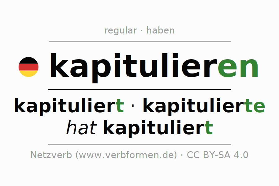 Entire conjugation of the German verb kapitulieren. All tenses are clearly represented in a table.