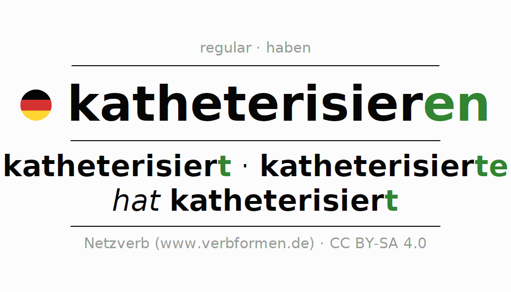 Entire conjugation of the German verb katheterisieren. All tenses and modes are clearly represented in a table.