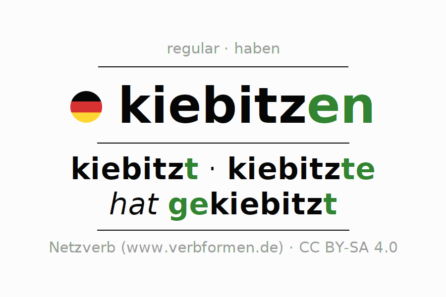 Entire conjugation of the German verb kiebitzen. All tenses and modes are clearly represented in a table.
