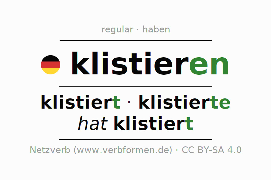 Entire conjugation of the German verb klistieren. All tenses and modes are clearly represented in a table.
