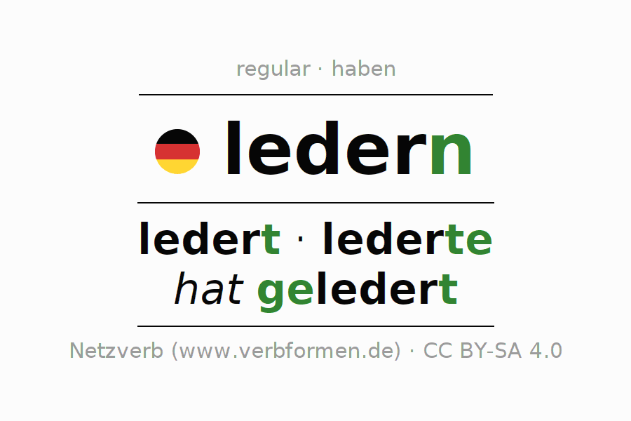 Entire conjugation of the German verb ledern. All tenses and modes are clearly represented in a table.