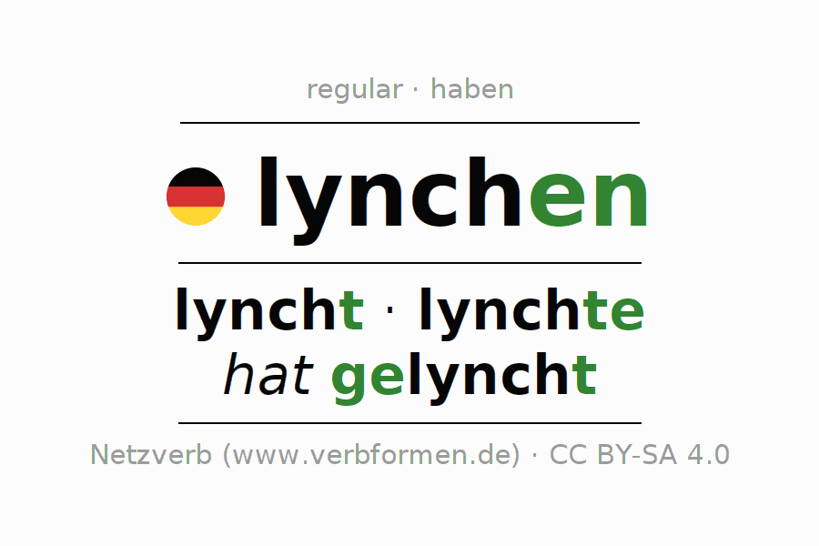 Entire conjugation of the German verb lynchen. All tenses are clearly represented in a table.
