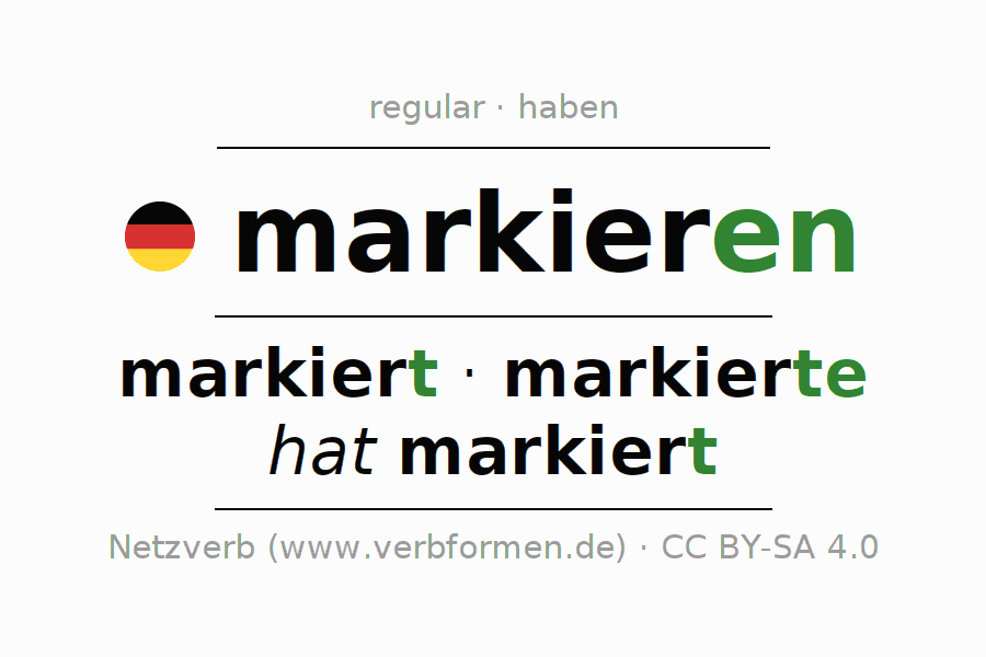 Conjugation of German verb markieren
