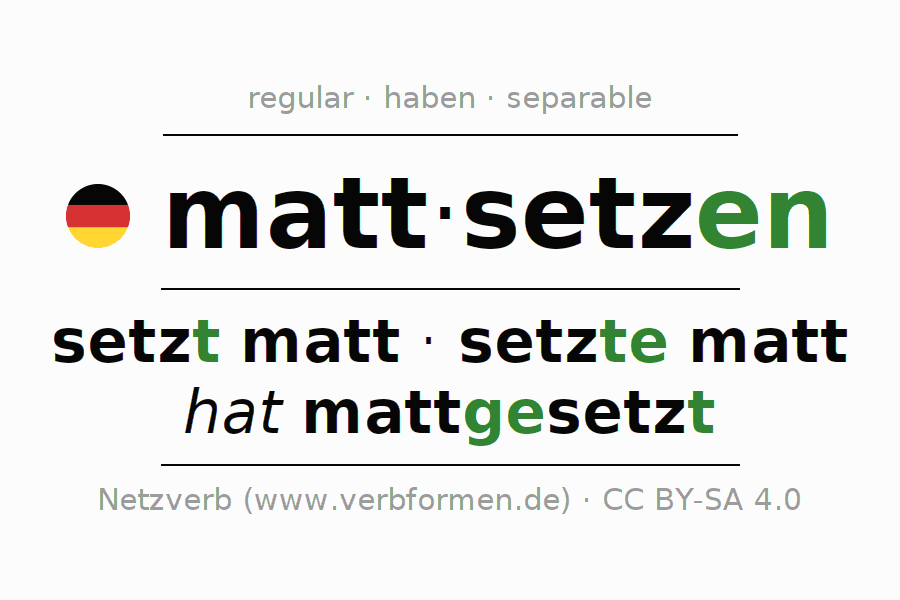 Conjugation of German verb mattsetzen