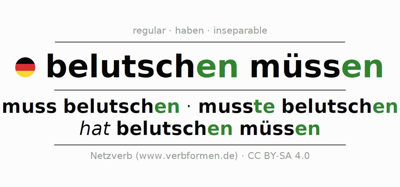 Conjugation of German verb muss belutschen