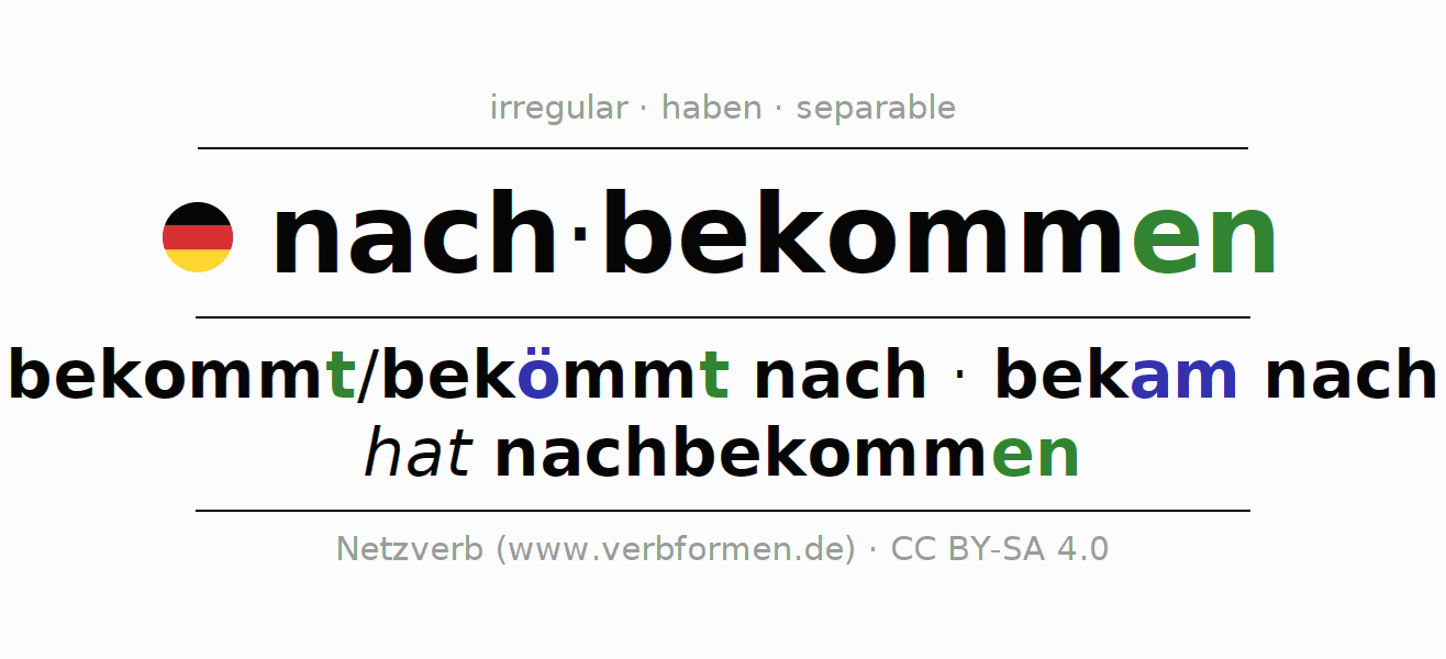 Conjugation of German verb nachbekommen