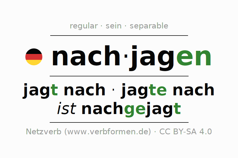 Entire conjugation of the German verb nachjagen (ist). All tenses and modes are clearly represented in a table.