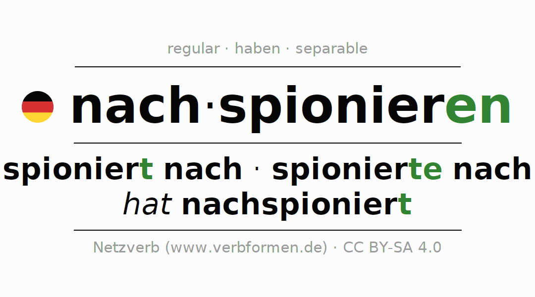 Entire conjugation of the German verb nachspionieren. All tenses are clearly represented in a table.