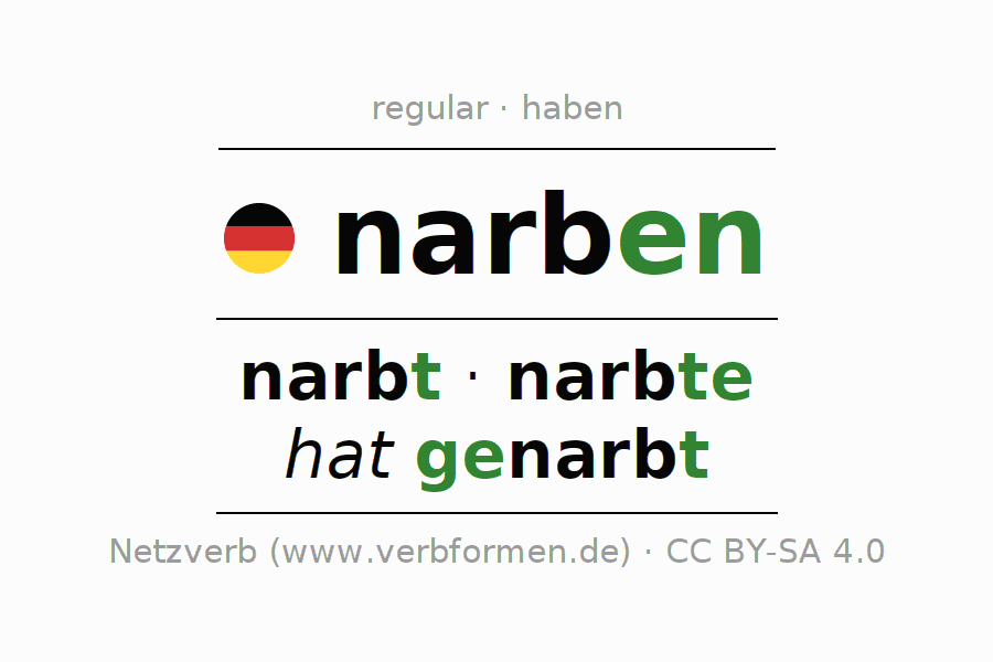 Entire conjugation of the German verb narben. All tenses and modes are clearly represented in a table.