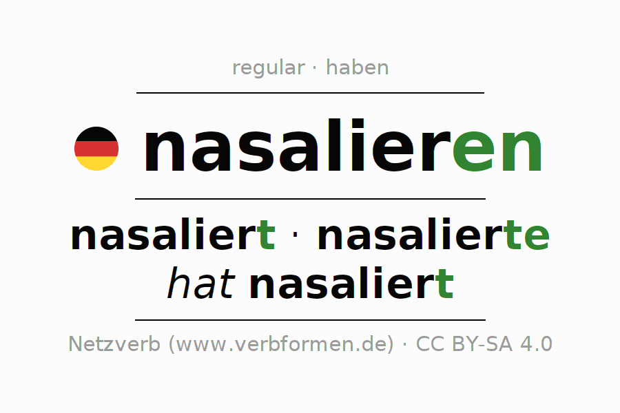 Entire conjugation of the German verb nasalieren. All tenses and modes are clearly represented in a table.