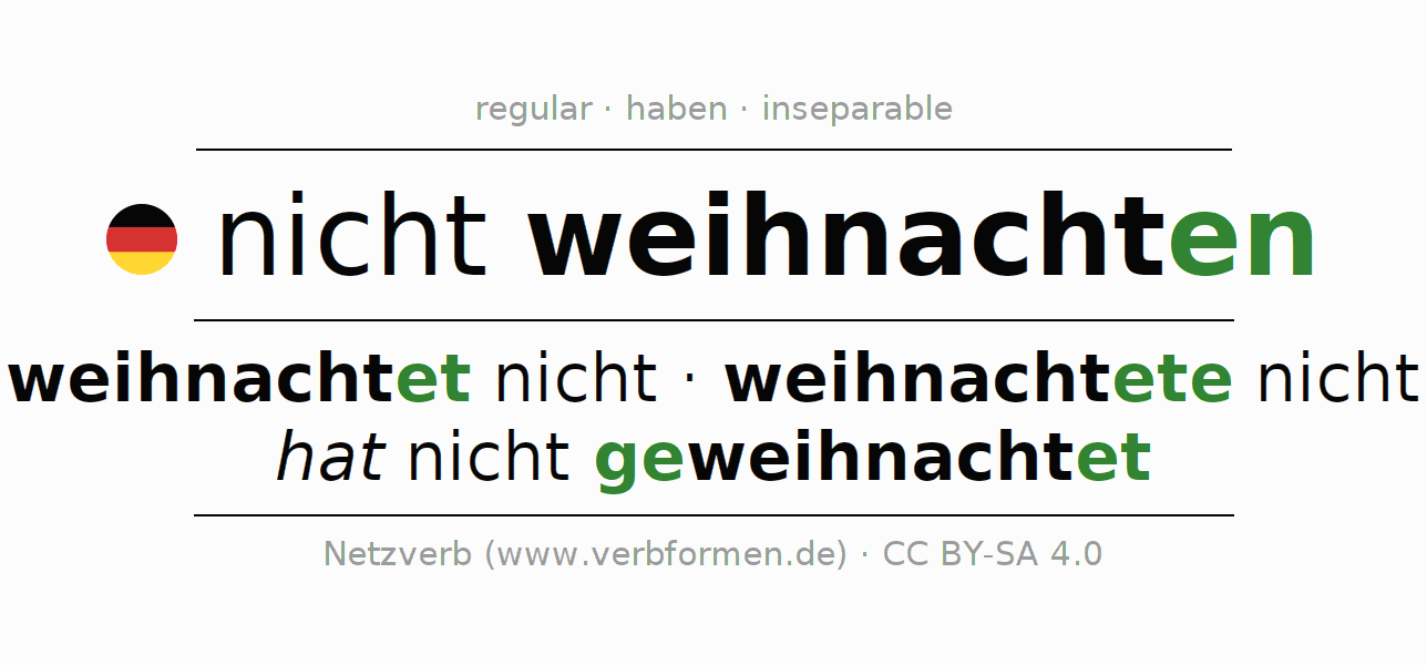 Conjugation of German verb nicht weihnachten