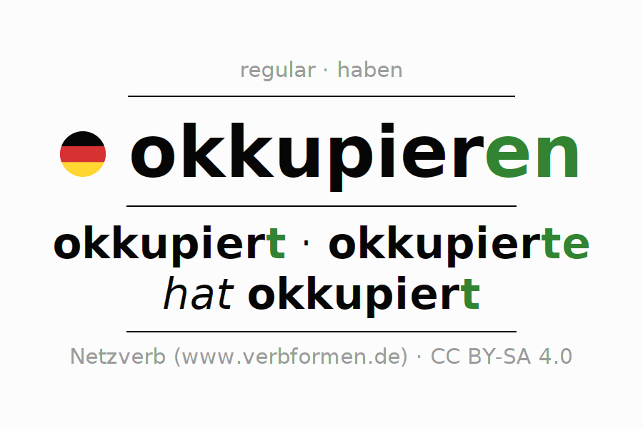 Entire conjugation of the German verb okkupieren. All tenses are clearly represented in a table.