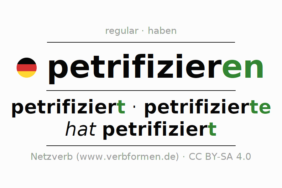 Entire conjugation of the German verb petrifizieren (ist). All tenses are clearly represented in a table.
